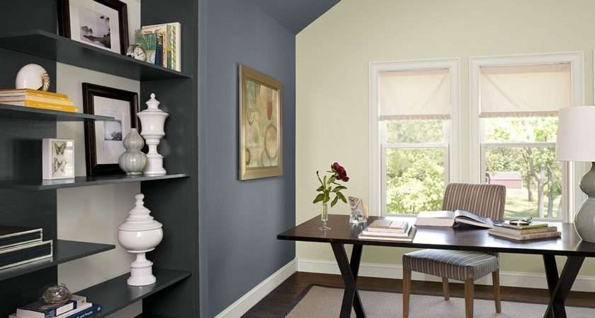 Blue Home Office Ideas Boldly Accented Paint Color