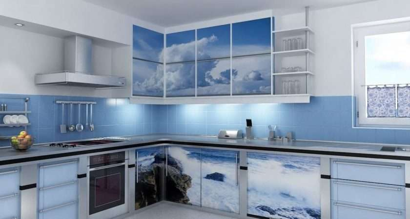 Blue Kitchen Design Ideas Tile Wall Backsplash