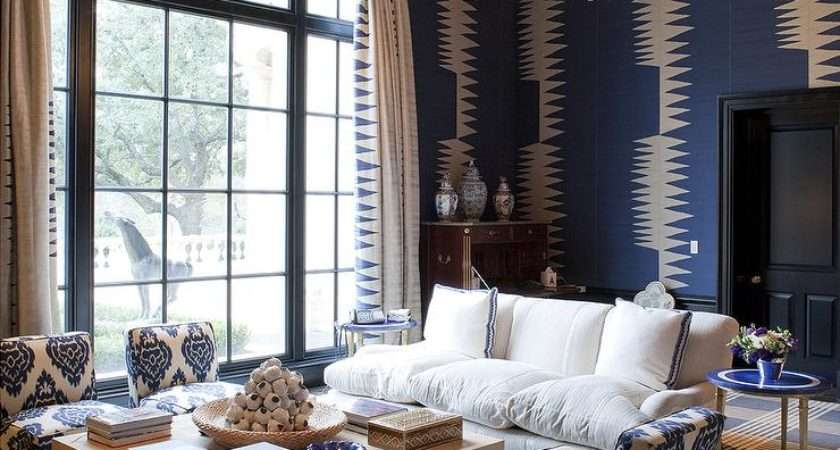 Blue Living Room Black Accents Contemporary