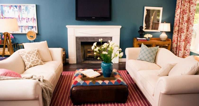 Blue Living Room Red Striped Area Rug Defines