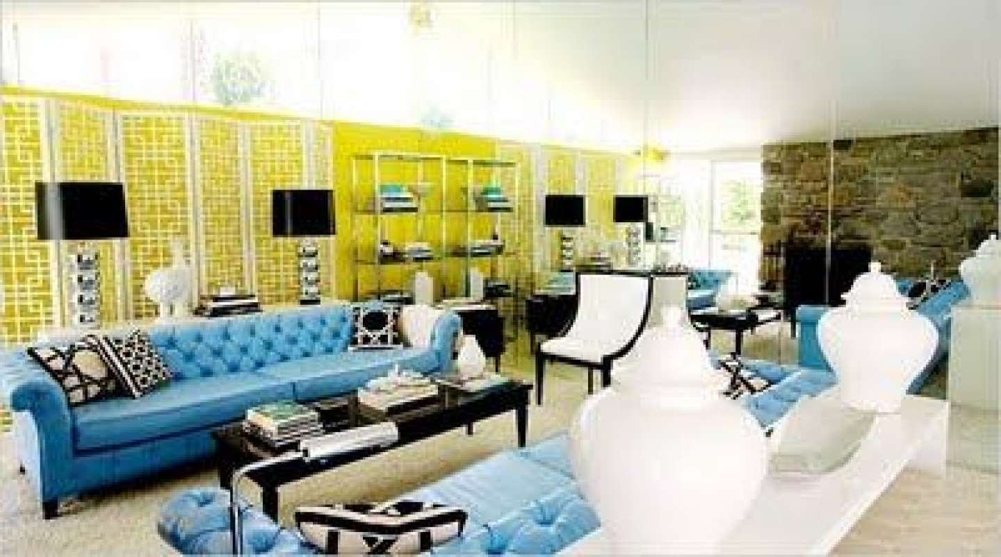Blue Yellow Living Room Decorating