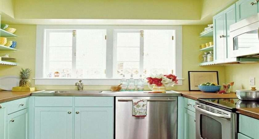 Blue Yellow Painted Kitchen Cabinet Stroovi