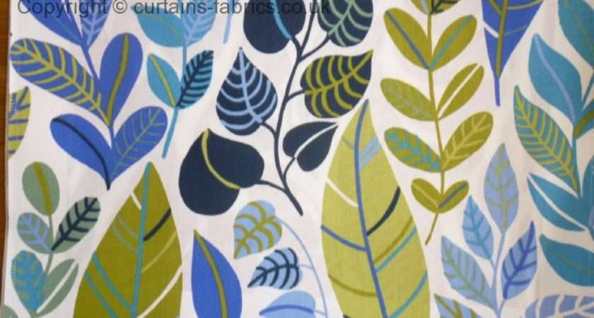 Boljande Blad Sold Out Monkwell Blue Curtain Fabric