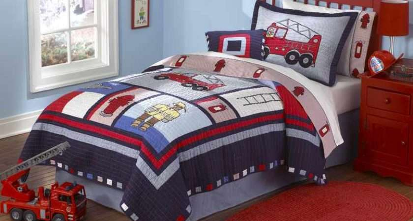 Boys Bedding Firemen Fire Trucks Must Have Classic