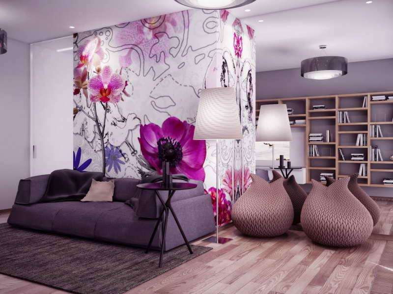 Bright Flower Decoration Bedroom Woth Purple Sofa