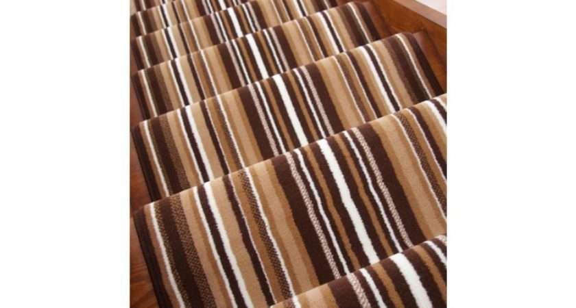 Brown Striped Stair Carpet Runner Wide