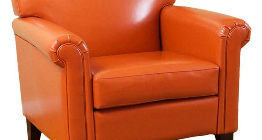 Burnt Orange Classic Leather Club Chair Accent Chairs