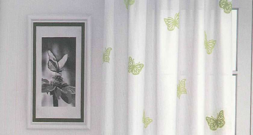 Butterfly Green Curtain Voile Panel Harry Corry Limited