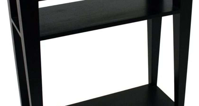 Buy Astley Black Console Table Glass Top Shelves