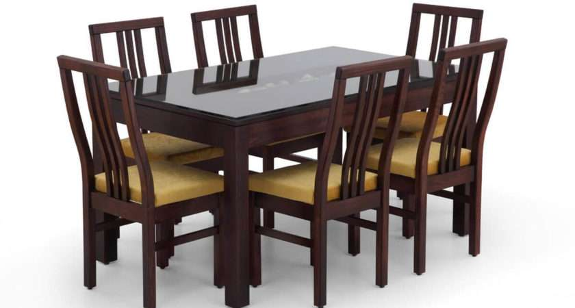 Buy Rectangular Glass Dining Table Set Wooden