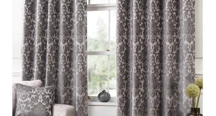 Camden Damask Latte Woven Chenille Lined Eyelet Curtains
