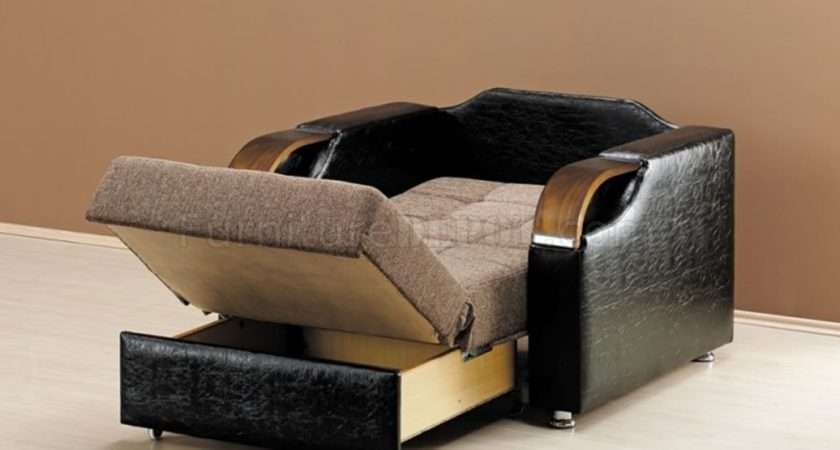 Caprio Chair Bed Brown Chenille Fabric Rncb