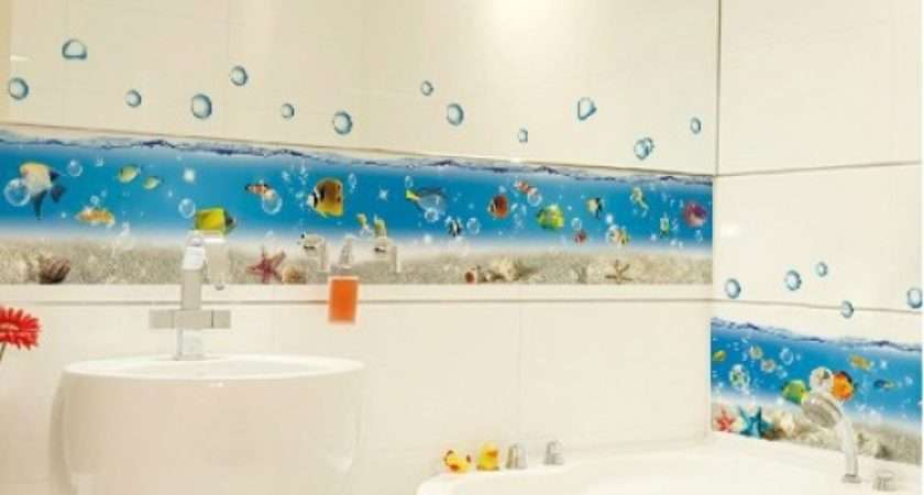 Cartoon Sea World Bathroom Bathtub Kitchen Sticker Wall