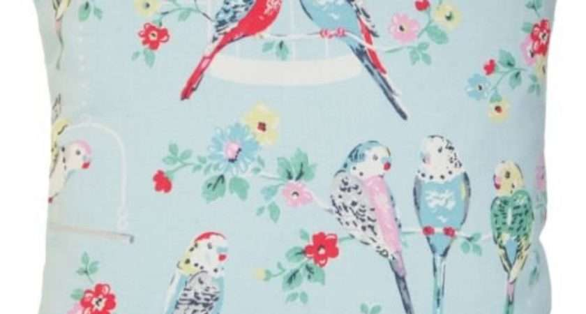 Cath Kidston Blue Budgies Cushion Cover Parrots Pillow