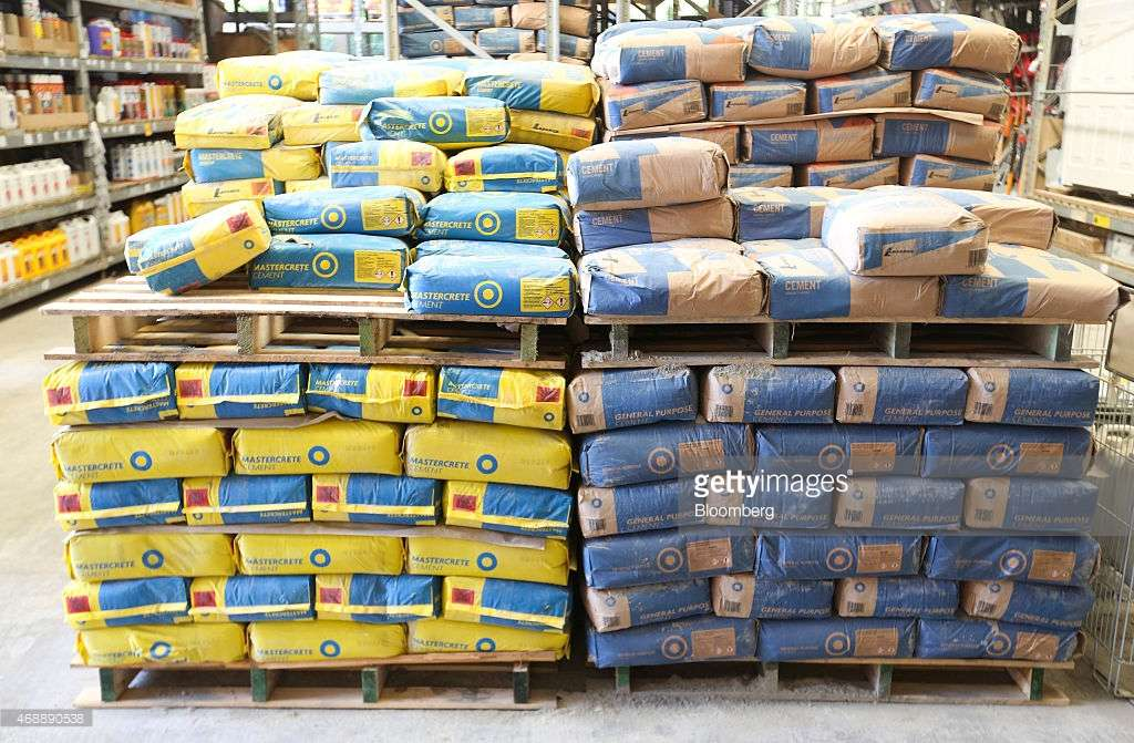 Cement Manufactured Lafarge Sit Pallets Inside Home
