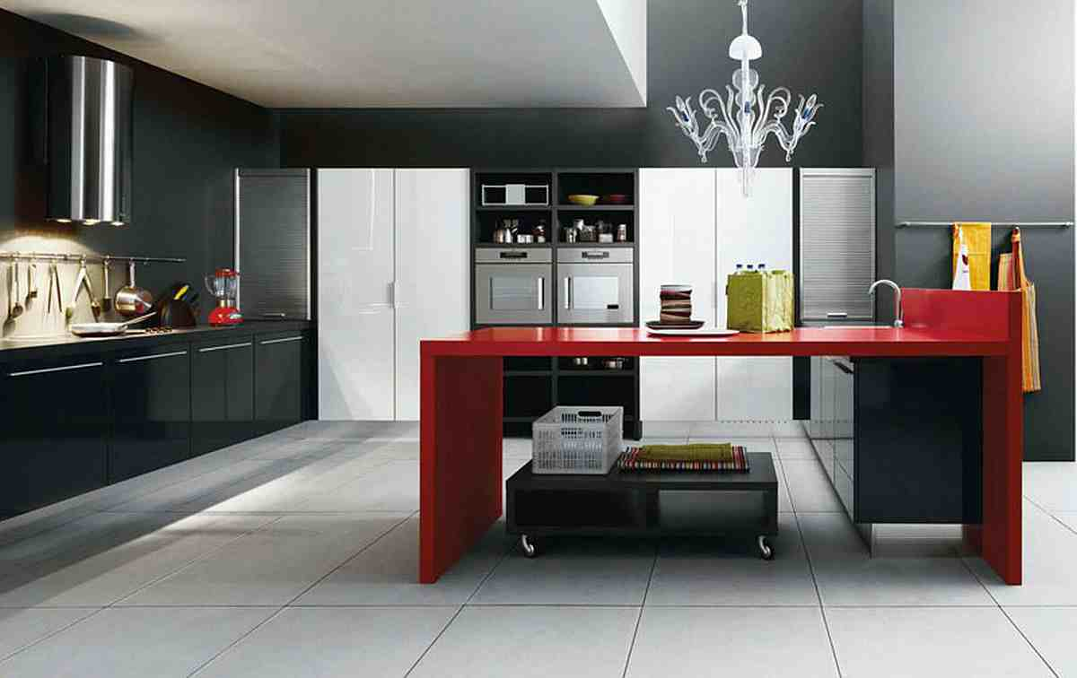 Chandelier Above Red Kitchen Island Plus Black White Unit