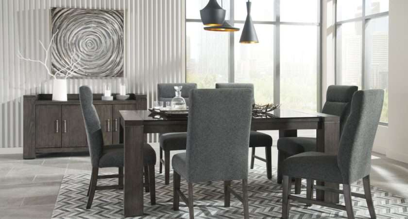 Chansey Dark Gray Rectangular Dining Room Set Ashley
