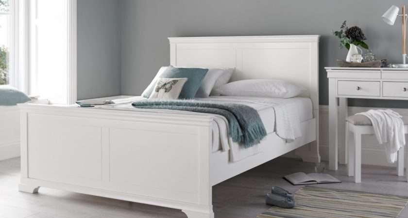 Chateaux White Wooden Bed Frame Painted Wood