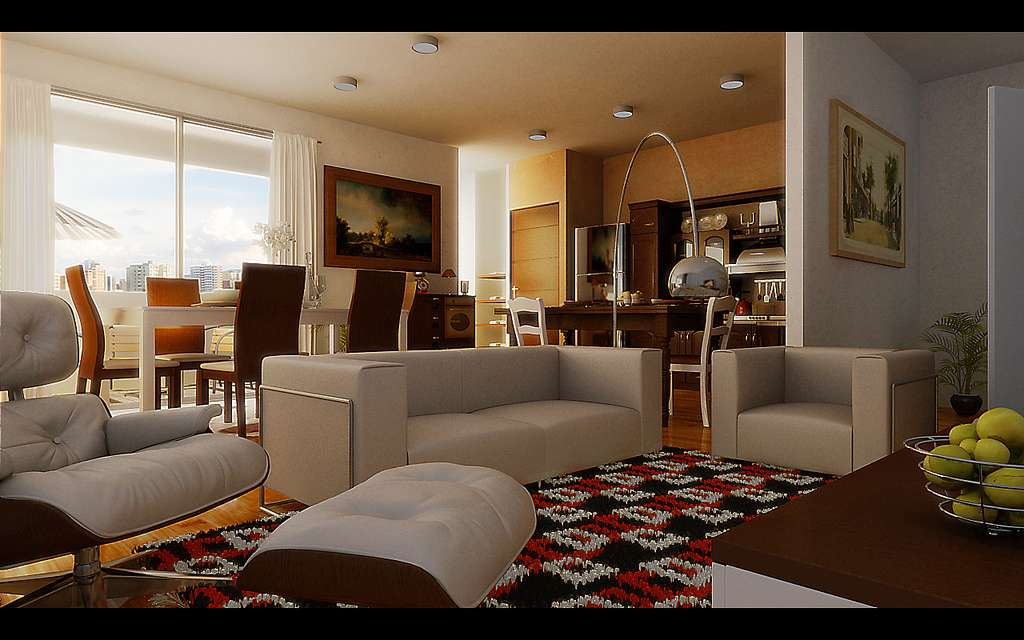 Checkered Area Rug Defines Living Space Small Open
