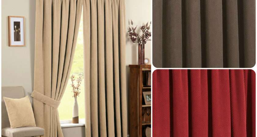 Chenille Spot Pencil Pleat Thermal Ready Made Curtains