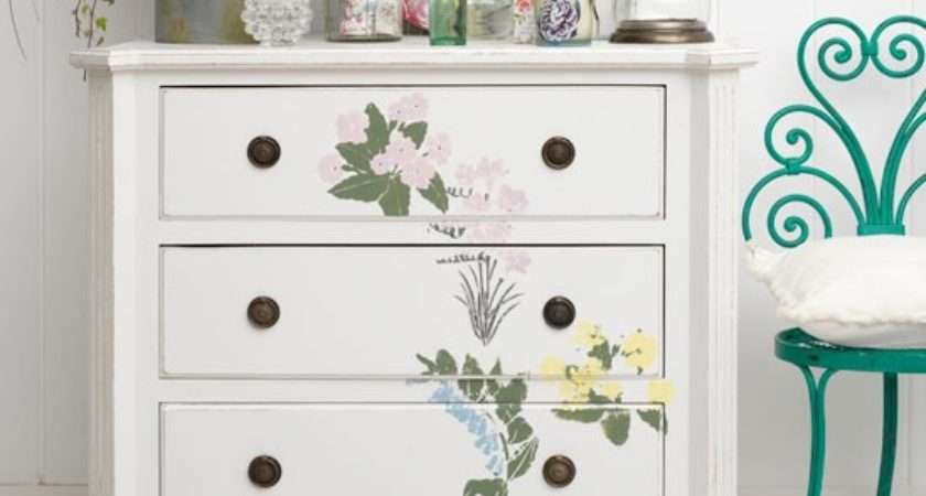 Chest Drawers Painted Floral Motif Easy