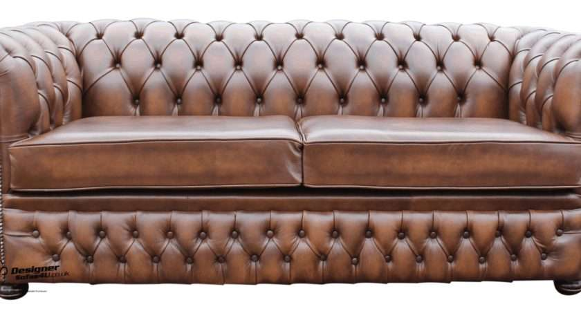 Chesterfield Winchester Seater Settee Sofa Antique Brown Leather