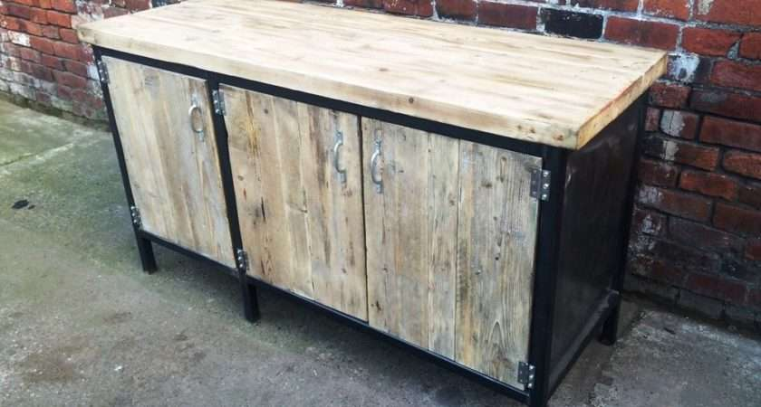Chic Sideboard Dresser Wood Metal Bar Office Steel Ebay
