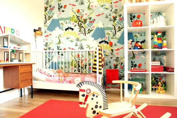 Children Room Modern Vintage Vibrant Colors Bookcase