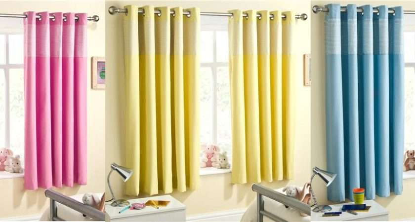 Childrens Bedroom Curtains Pink Blue Yellow Beige Gingham