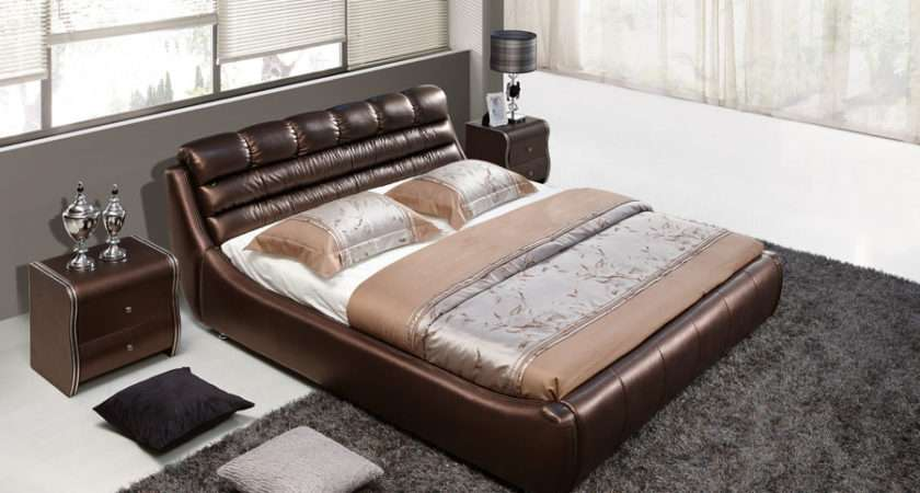 China Double Bed Designs Leather