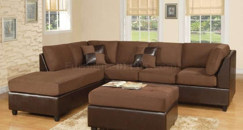 Chocolate Fabric Modern Two Tone Sectional Sofa Bycast Base Wdss