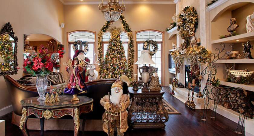 Christmas Decor Mediterranean Living Room Chicago
