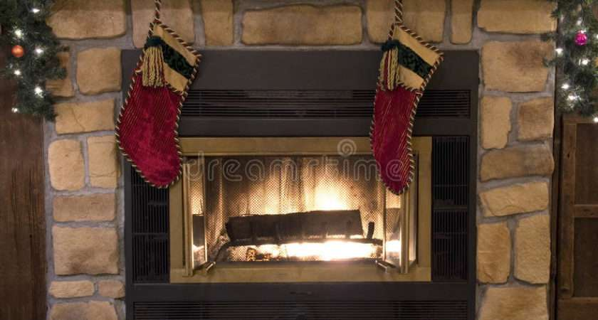 Christmas Fireplace Hearth Stockings Landscape