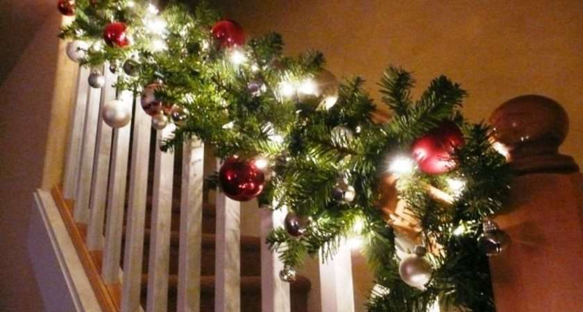 Christmas Garlands Stairs Happy Holidays