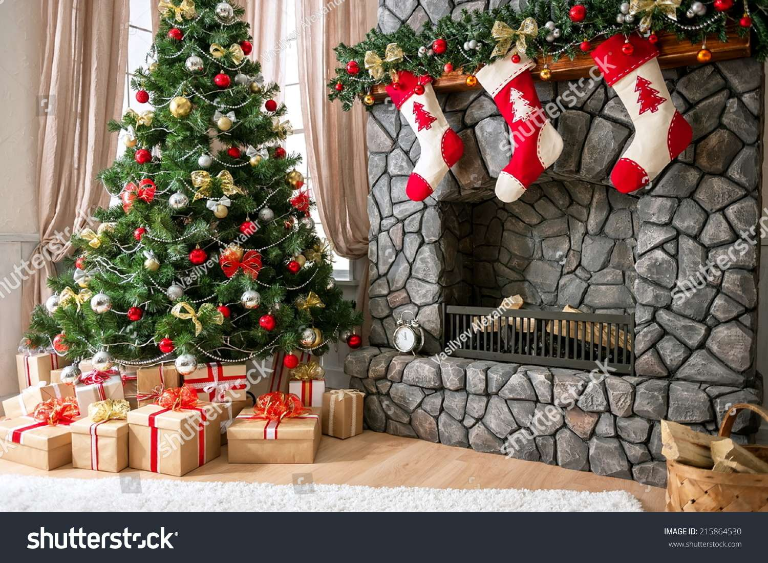 Christmas Interior Natural Light Tree Fireplace