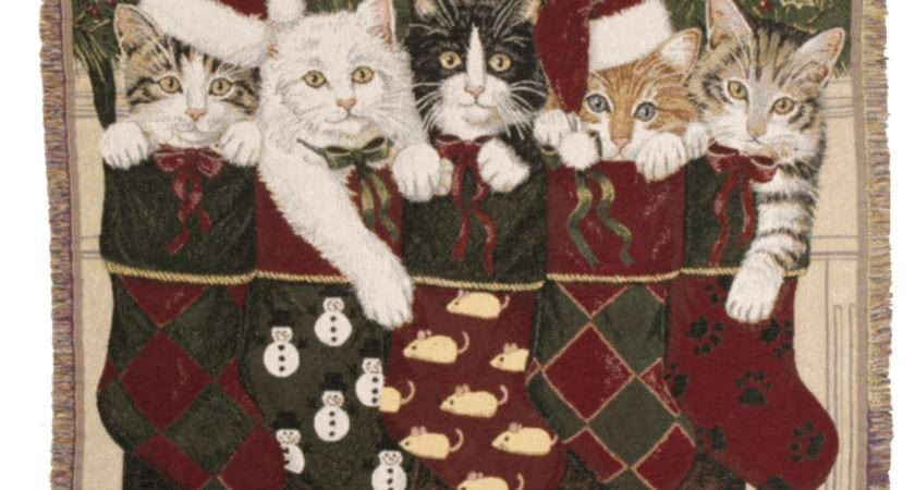 Christmas Kittens Cat Holiday Tapestry Afghan Throw Blanket