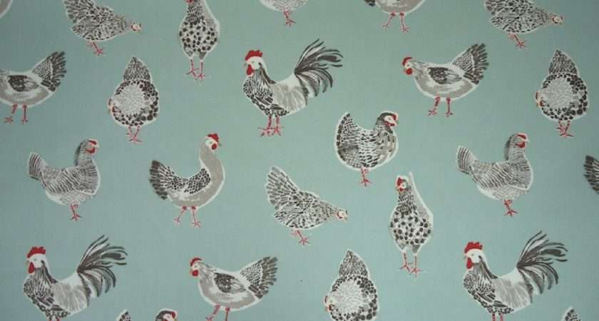 Clarke Rooster Duck Egg Cotton Curtain Fabric