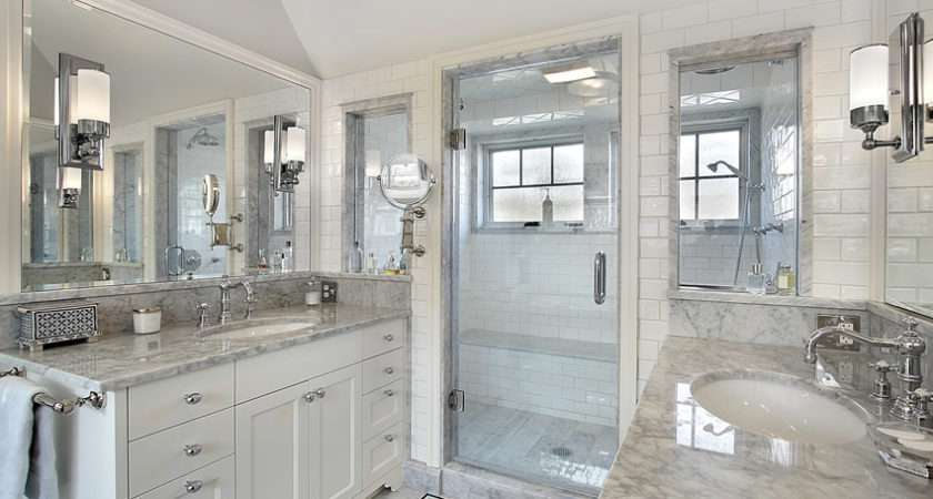 Classic All White Bathroom Contemporary Features
