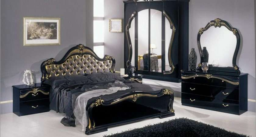Classic Black Bedroom Set Gold Fabric Headboard Bed