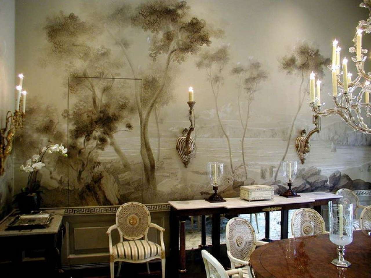 Classic Dining Room Wall Murals Design Ideas Best