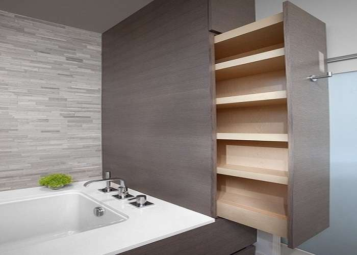 Clean Practical Hidden Storage Small Space Bathroom
