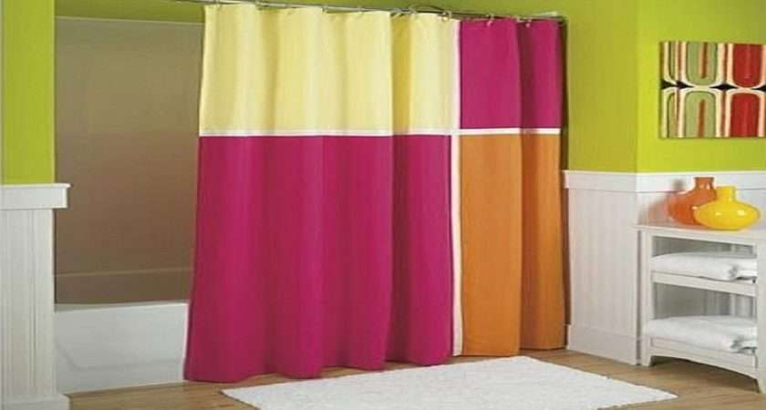 Colorful Punch Fabric Shower Curtain Hookless