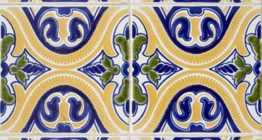 Colorful Yellow Green Blue Spanish Pattern Tile