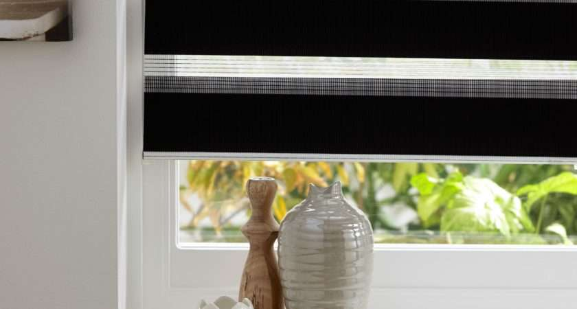 Colours Day Night Corded Black Roller Blind