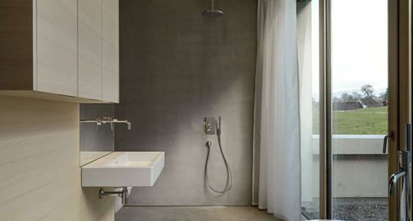 Comfortable Concrete House Bathroom Designs One Total
