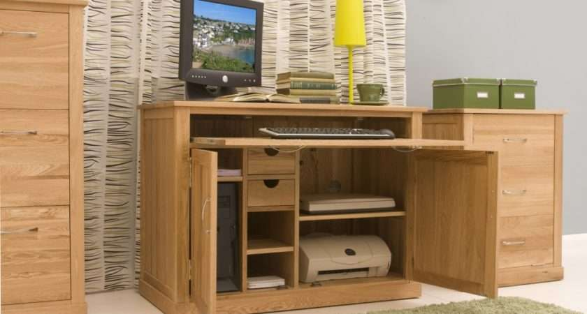 Conran Solid Oak Furniture Hidden Home Office Computer Desk