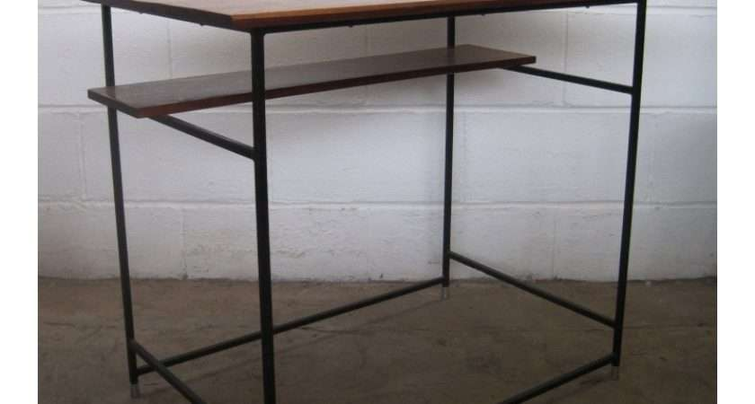 Conran Style Mahogany Enamelled Metal Console Desk Table