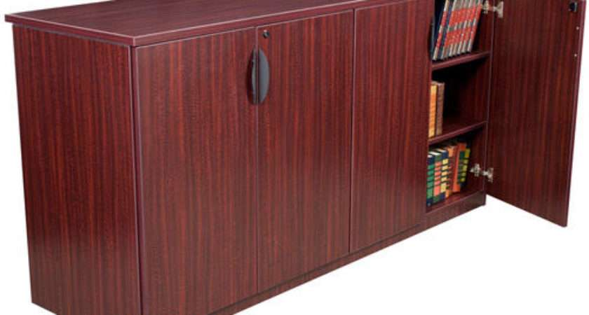 Contemporary Office Credenza Cabinet Storage Furniture Mahogany Cherry