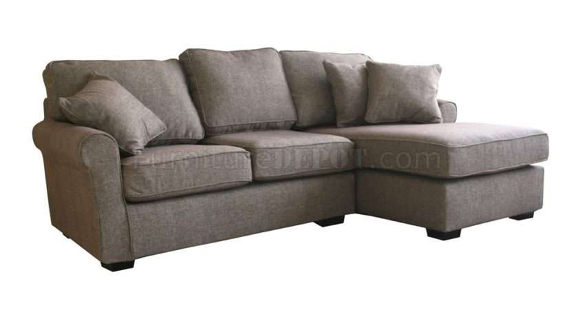 Contemporary Small Sectional Sofa Brown Fabric Awss Spana