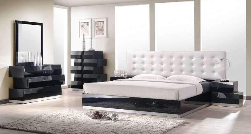 Contemporary Style Bedroom Set White Leatherette Headboard Modern